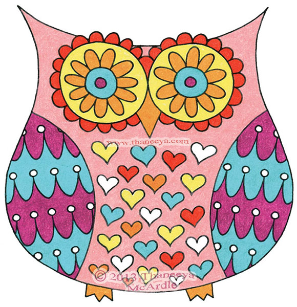 Colorful Funky Owl Drawing by Thaneeya