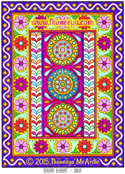 Folk Art Coloring Book Page by Thaneeya McArdle