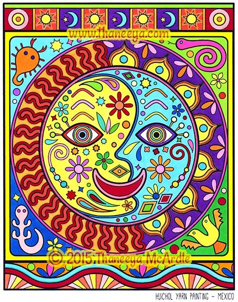 Yarn Painting Folk Art Coloring Page by Thaneeya