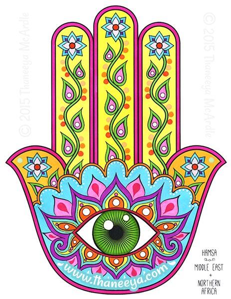 Hamsa Folk Art Coloring Page by Thaneeya
