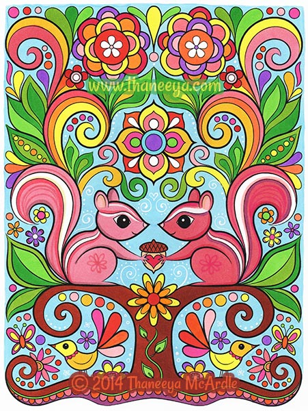 Cute Chipmunks Coloring Page by Thaneeya McArdle