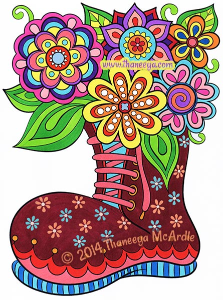 Happy Campers Coloring Book Boot by Thaneeya