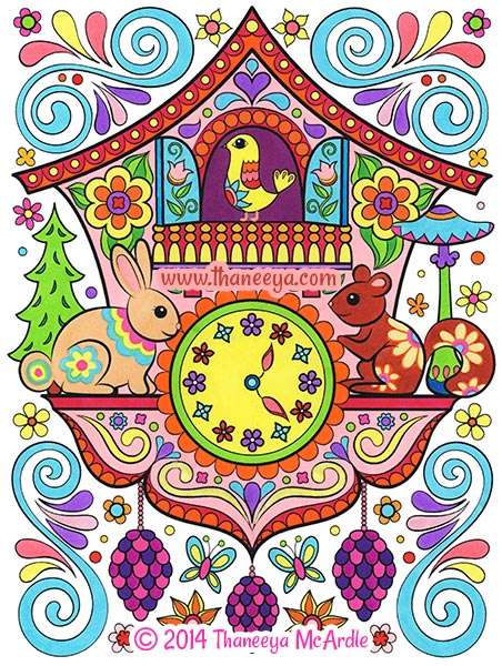 Happy Campers Coloring Book Page by Thaneeya