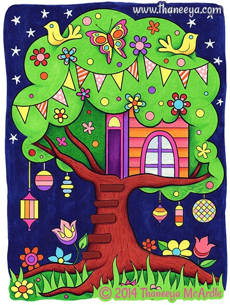 Happy Campers Coloring Book Treehouse by Thaneeya