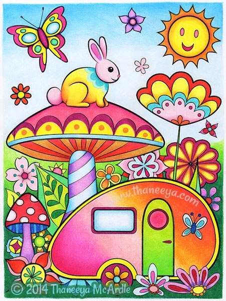 Happy Campers Coloring Page by Thaneeya McArdle