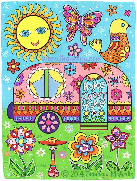Home Sweet Home Happy Campers Coloring Page