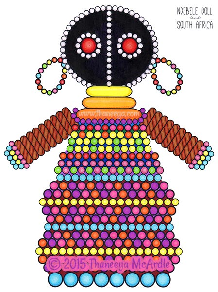 South African Doll Coloring Page by Thaneeya McArdle