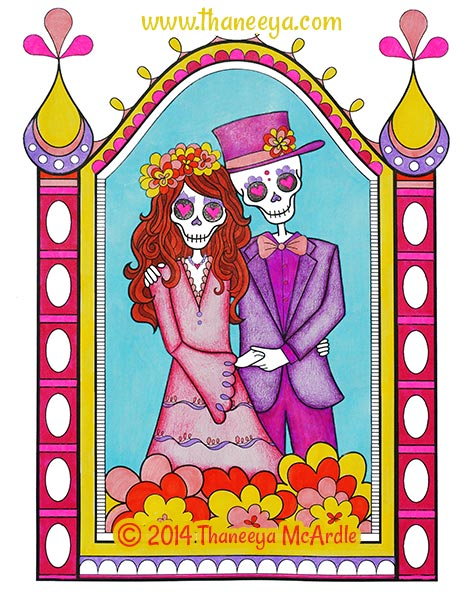 Day of the Dead Coloring Book Page by Thaneeya