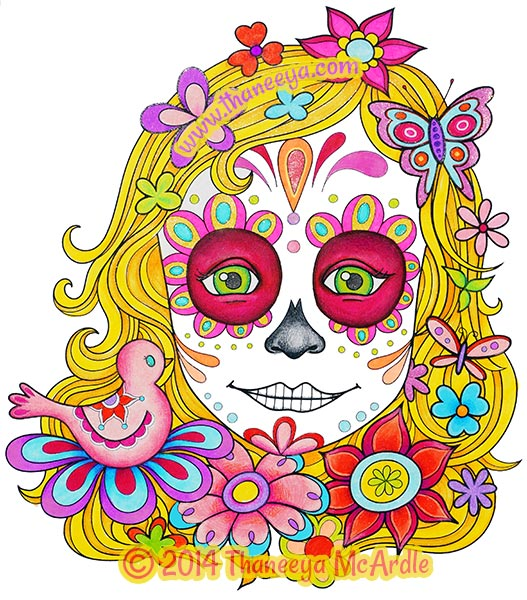 Day of the Dead Coloring Book Girl by Thaneeya