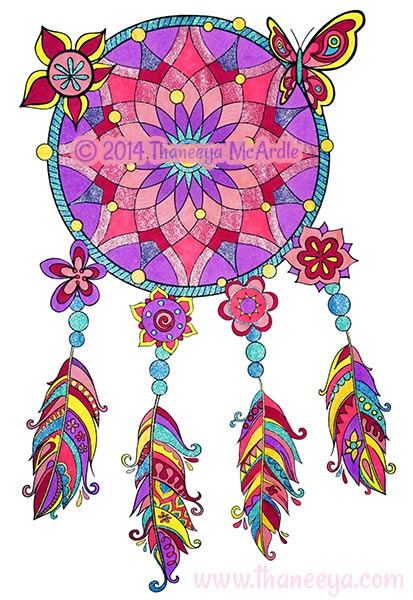 Hipster Coloring Book Dreamcatcher by Thaneeya McArdle