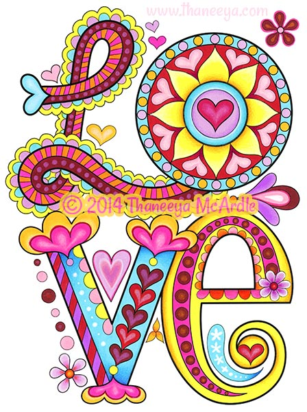 Peace and Love Coloring Page by Thaneeya McArdle