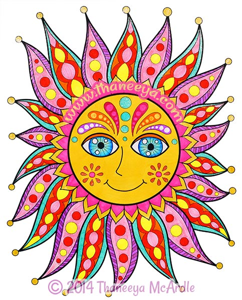Peace and Love Coloring Book Sun by Thaneeya