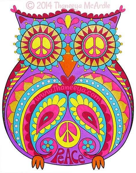 Peace and Love Coloring Book Owl by Thaneeya