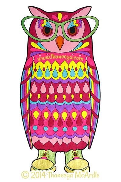 Dapper Animals Coloring Book Owl by Thaneeya