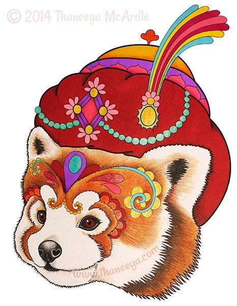 Dapper Animals Coloring Book Red Panda by Thaneeya