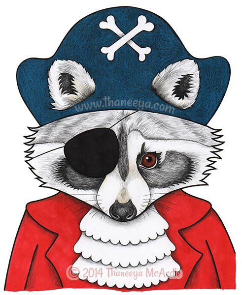 Dapper Animals Coloring Book Raccoon Page by Thaneeya