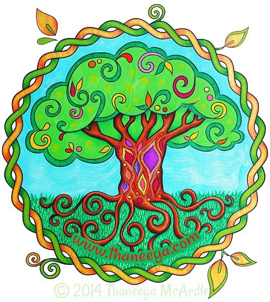 Nature Mandalas Coloring Book Tree by Thaneeya