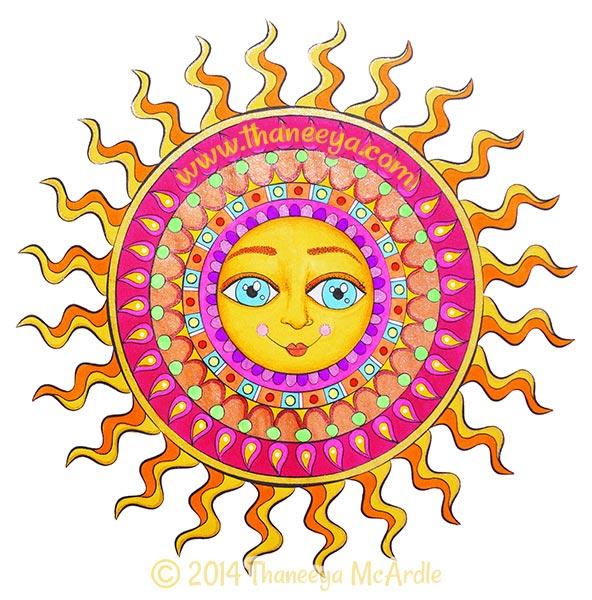 Nature Mandalas Coloring Book Sun by Thaneeya