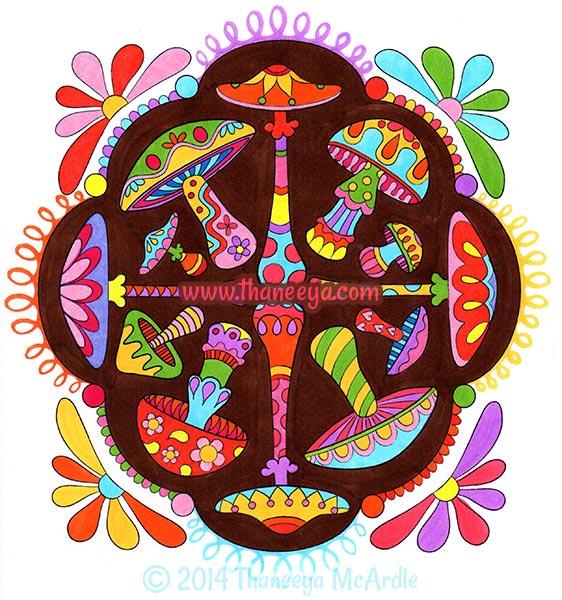Mushroom Nature Mandala Coloring Page by Thaneeya