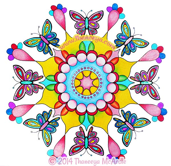 Butterfly Nature Mandala Coloring Page by Thaneeya