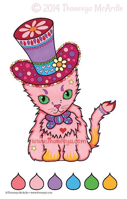 Color Dreams Coloring Book Cat by Thaneeya