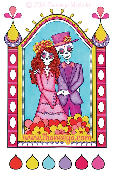 Day of the Dead Coloring Page by Thaneeya