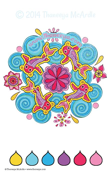 Color Love Coloring Book Koi Page by Thaneeya McArdle