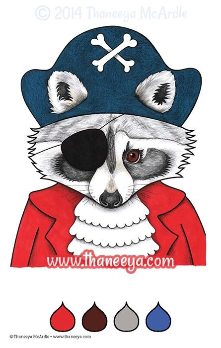 Color Fun Coloring Book Raccoon by Thaneeya