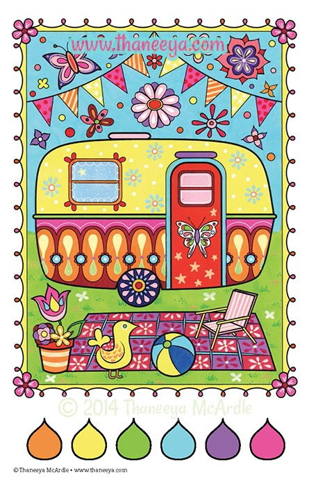 Color Fun Camping Coloring Page by Thaneeya