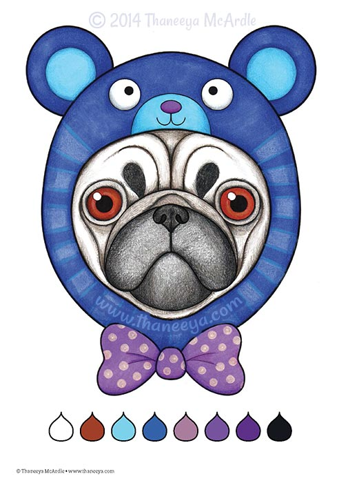 Don't Worry Be Happy Coloring Book Pug