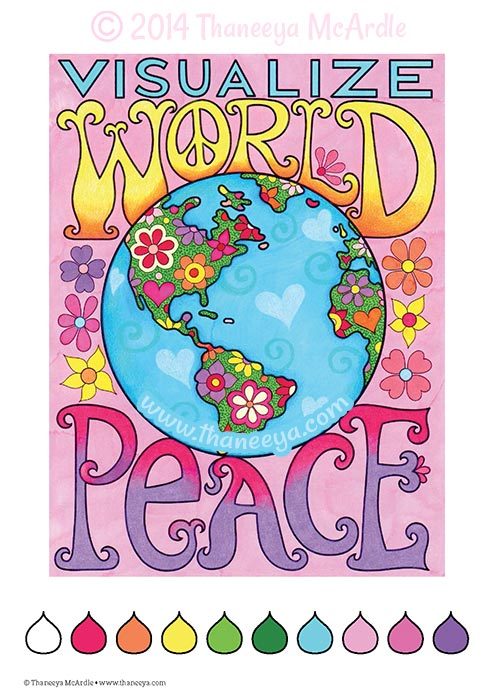 Visualize World Peace Coloring Page by Thaneeya