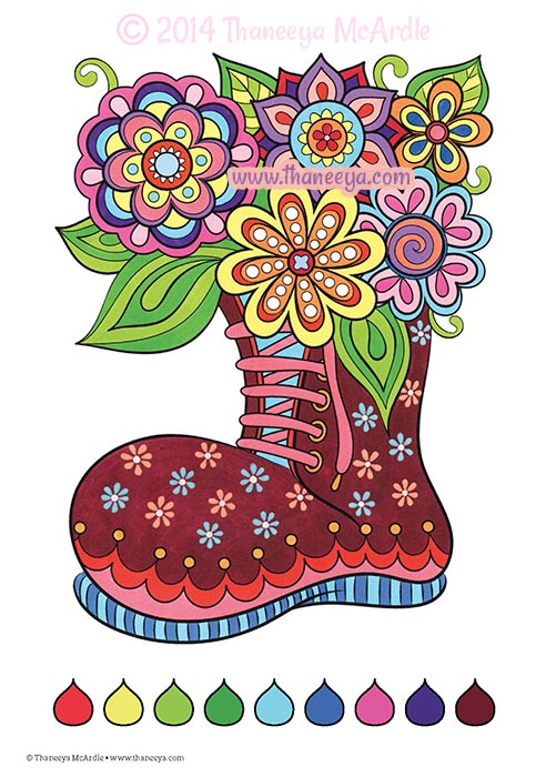 Fun and Funky Coloring Book Flower Boot