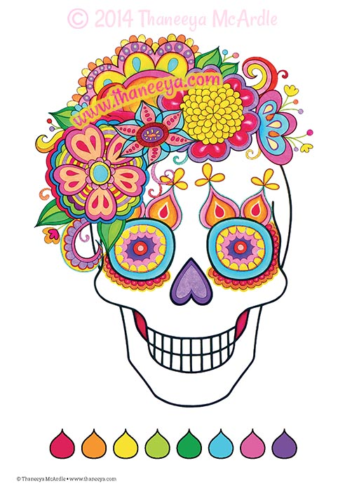 Fun and Funky Coloring Book Flower Skull