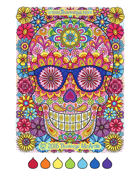 Sugar skull coloring page by Thaneeya
