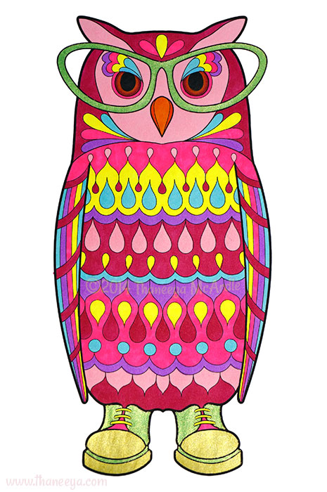 Glam the Librarian Owl by Thaneeya McArdle