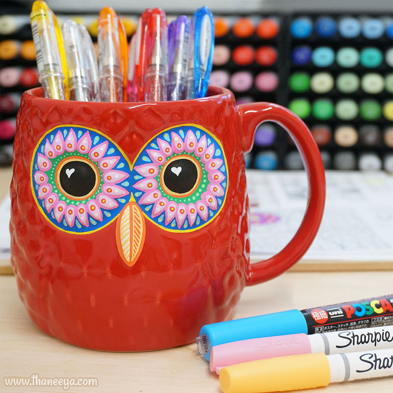 Owl Mug on Thaneeya's Desk Painted with Paint Markers