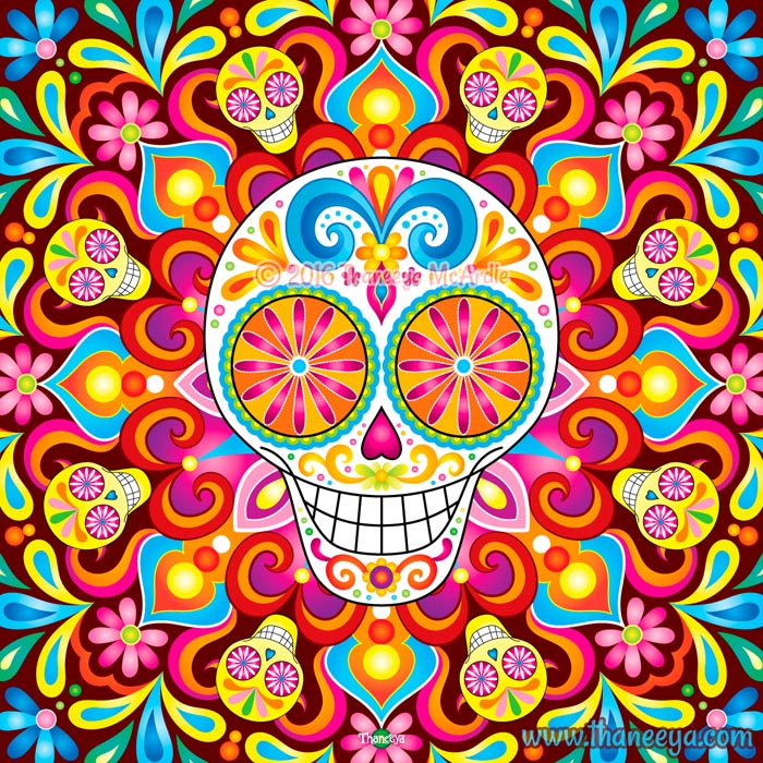 Trip the Light Sugar Skull Art by Thaneeya
