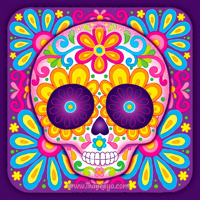 Little Sonrisa Colorful Skull by Thaneeya McArdle