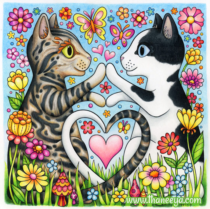 Two Cats Coloring Page by Thaneeya McArdle