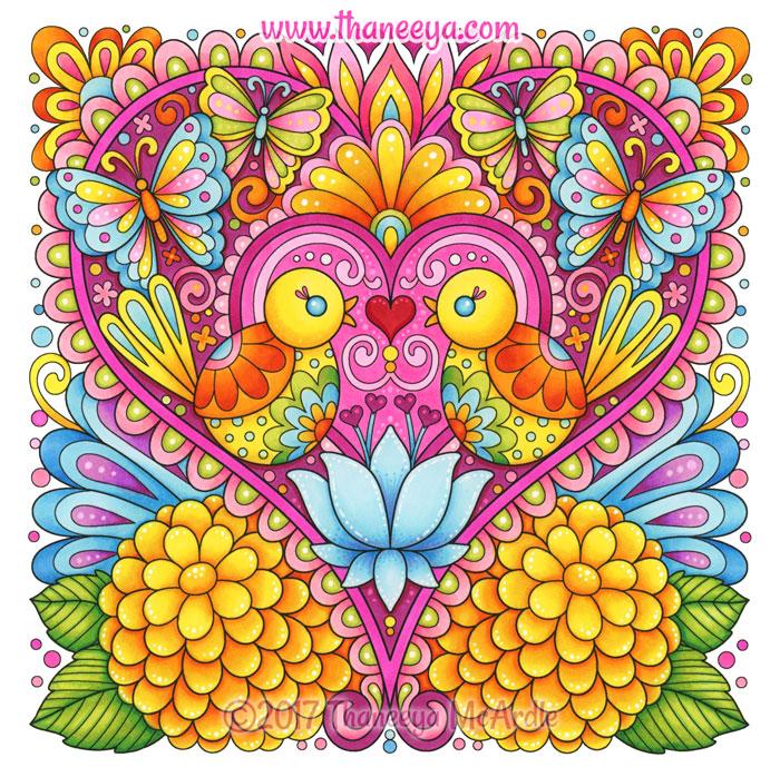 Colorful Birds Heart Art by Thaneeya McArdle