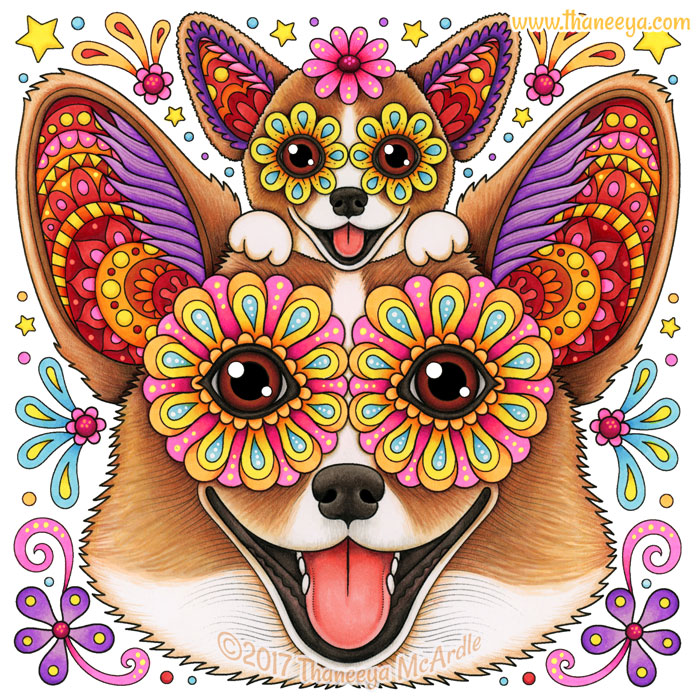 Colorful Corgis Art by Thaneeya McArdle