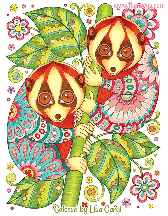 Javan Slow Lorises Coloring Page by Thaneeya McArdle