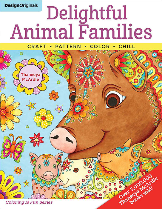 Delightful Animal Families Coloring Book by Thaneeya