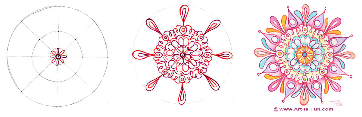 How to draw a mandala - samples steps from a lesson by Thaneeya McArdle