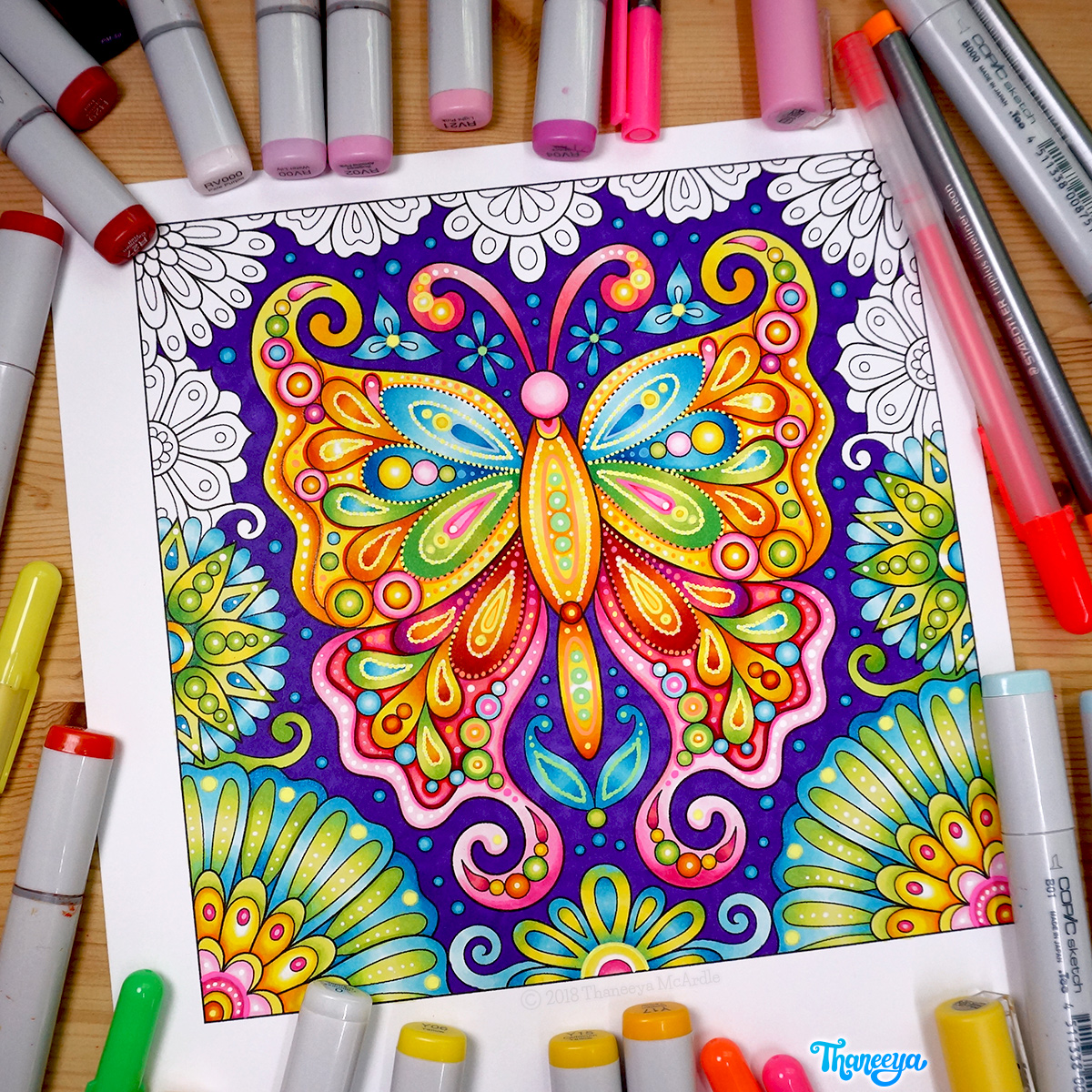 Butterfly coloring page by Thaneeya McArdle