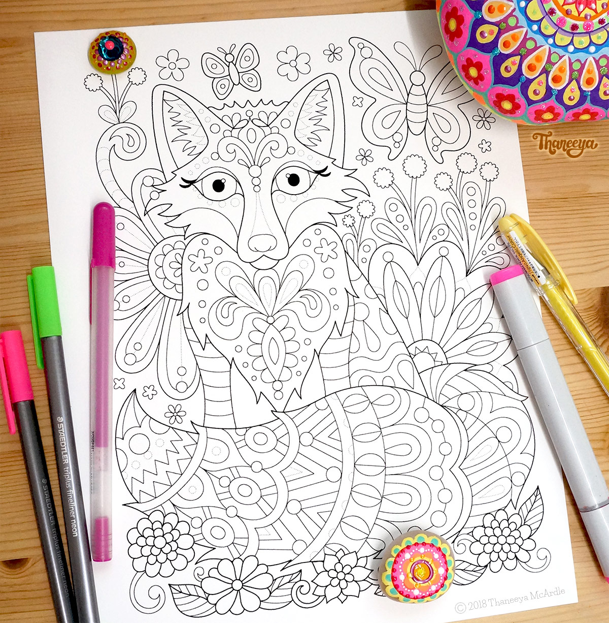 Fox coloring page by Thaneeya McArdle