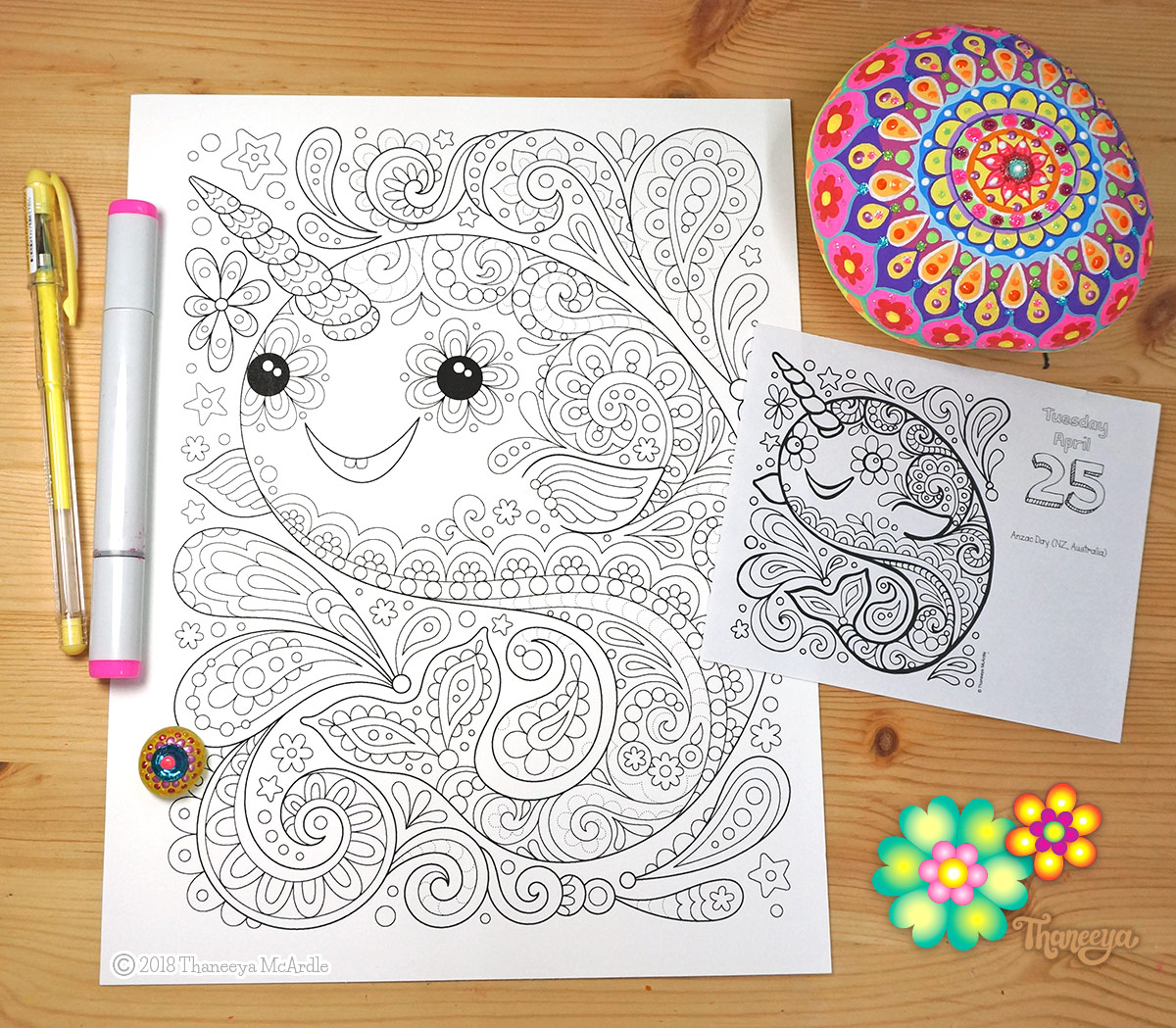 Narwhal coloring page by Thaneeya McArdle