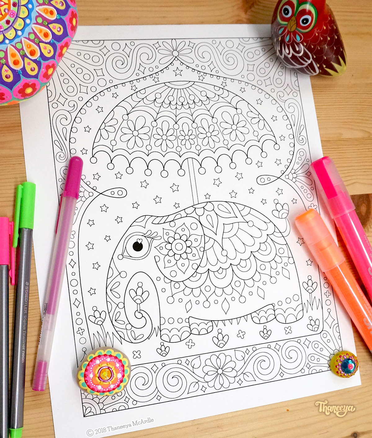 Elephant coloring page by Thaneeya McArdle