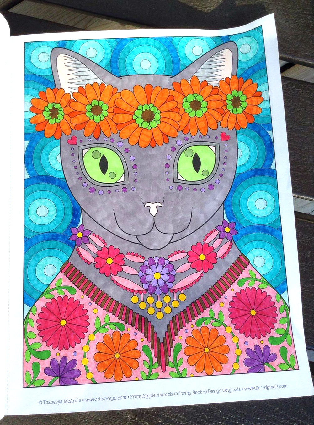 Cat coloring page from Thaneeya McArdle's Hippie Animals Coloring Book, colored in by Tammy M