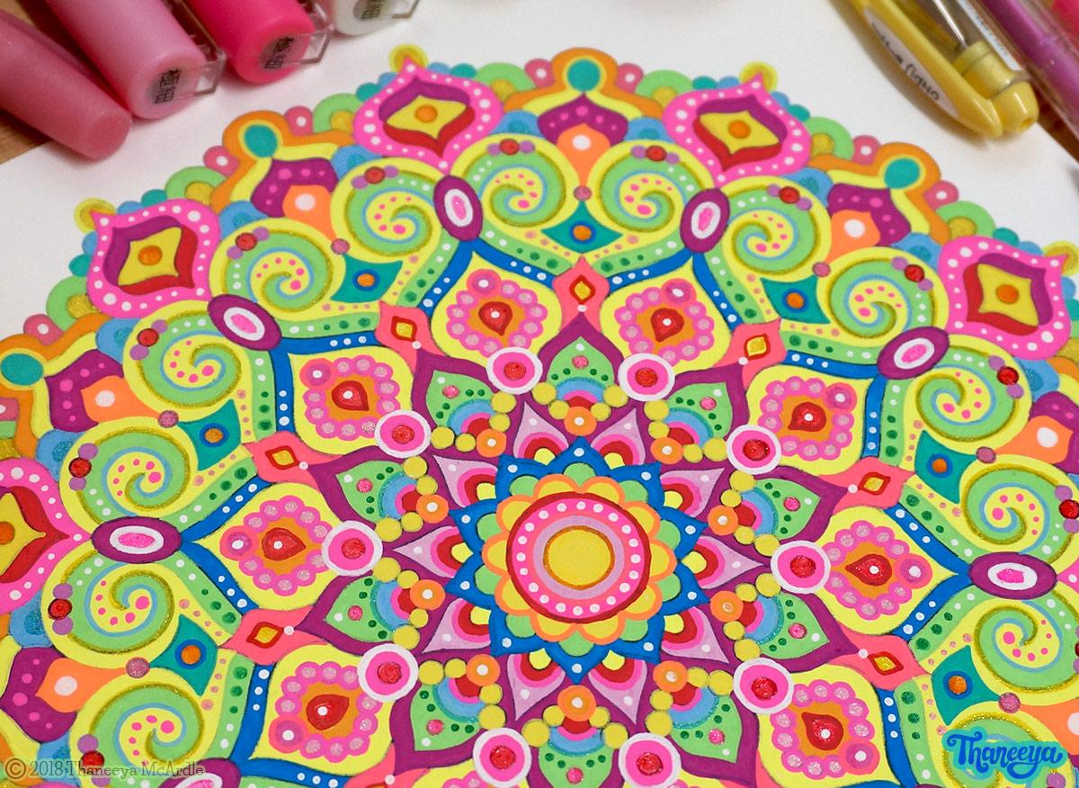 Close-up of neon mandala by Thaneeya McArdle